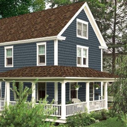exterior paint colors house brown roof brown roof blue siding white trim house remodel