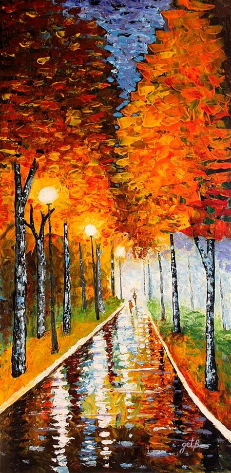 paint nite ta autumn park lights palette knife painting by