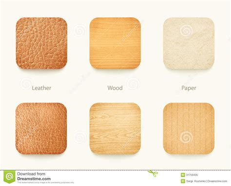 free woodworking apps set of paper wood and leather app icons royalty free stock
