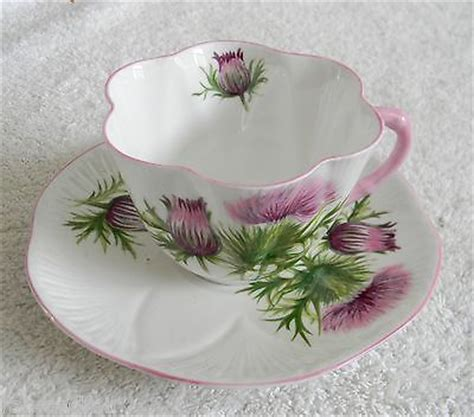 bone knit tea shelley bone china cup and saucer thistle pattern