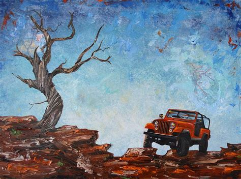 acrylic painting of jeep jeep scrambler painting by sheri wiseman