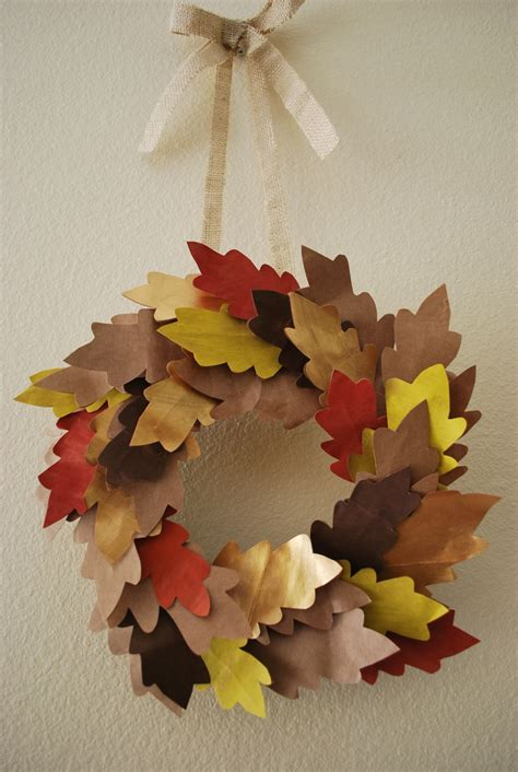paper leaf craft recycled fall wreath with painted paper bag leaves