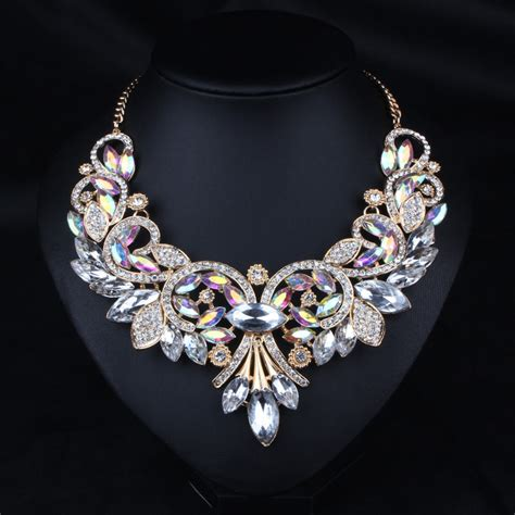 jewelry necklace chains 2016 luxury brand ab shine flower necklace gold