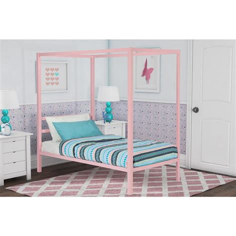 modern canopy bed frame dhp modern metal canopy size bed frame in pink