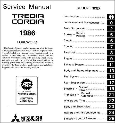 service manual 1986 mitsubishi tredia owners manual pdf service manual car repair manuals