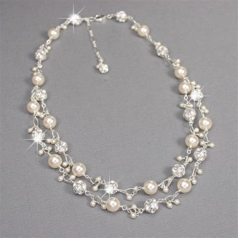 pearl for jewelry unique bridal necklace rhinestone and pearl charm