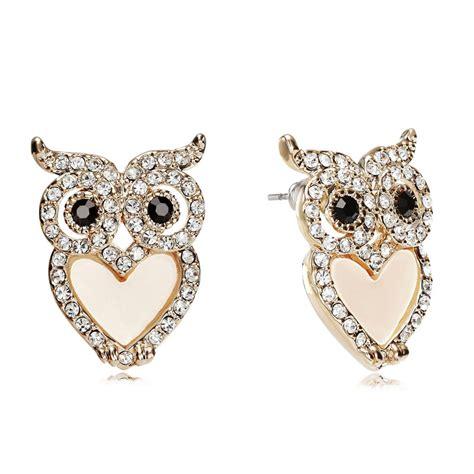 jewelry earrings gold owl earrings belly owl stud earrings rhinestone