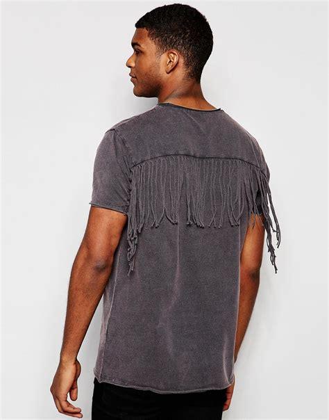 fringe shirt with asos asos longline t shirt with fringe back and acid
