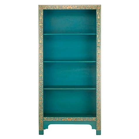 collection painted bookcase in blue from
