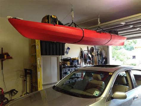 Garage Storage Kayak Kayak Ceiling Storage Aka Finally Got Both Cars In The