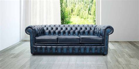 blue leather chesterfield sofa antique blue leather chesterfield 3 seater sofa