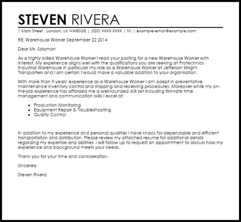 warehouse worker cover letter sample livecareer