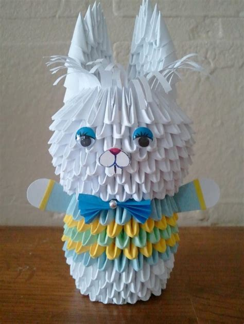 origami 3d rabbit 3d origami bunny boy by akvees on zibbet