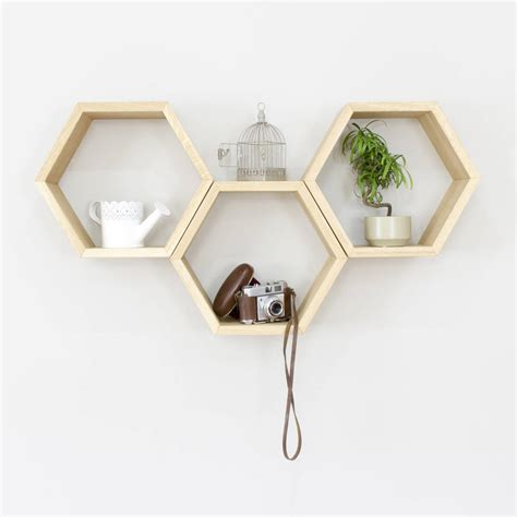 hexagon bookshelves hexagon wall shelves set of three by bespoak interiors