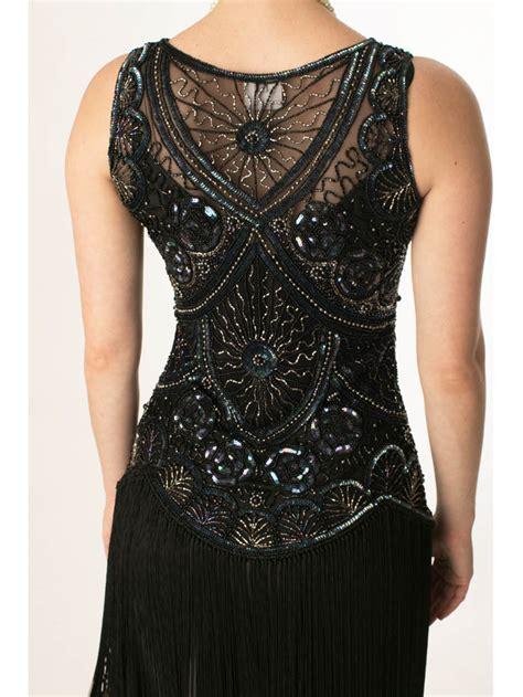 beaded flapper dress 1920s style beaded black fringe jazz baby flapper dress