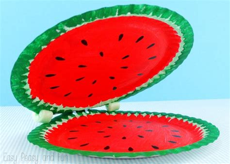 watermelon paper craft paper plate watermelon paper plate crafts easy peasy