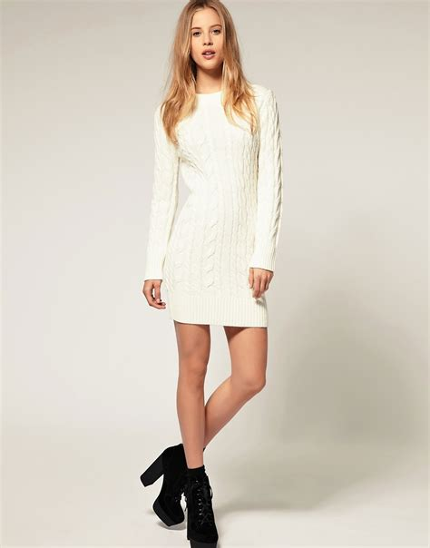 knitted sweater dress asos asos cable knit sweater dress at asos