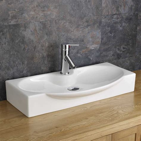 shallow kitchen sink countertop 69cm x 34cm shallow bathroom sink white ceramic