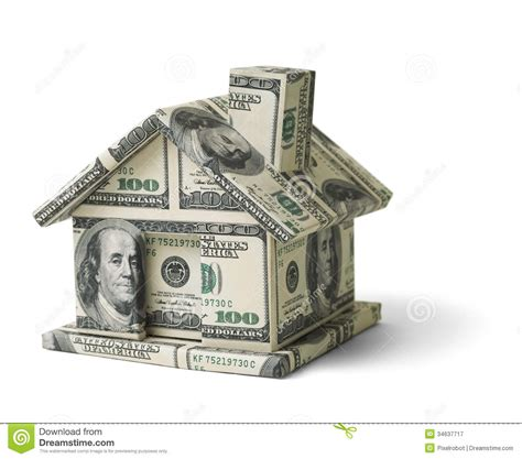 at home for money real estate money house made isolated white