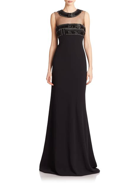 beaded illusion gown marc valvo beaded illusion gown in black lyst