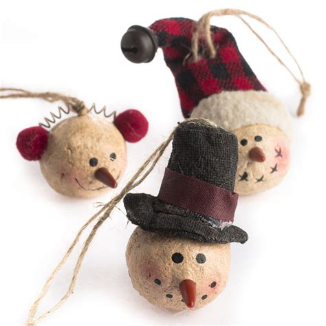 country snowman ornaments primitive paper clay snowman ornaments and