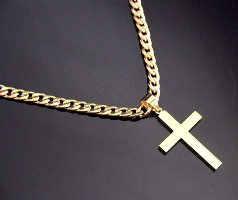 cross pendants for jewelry stainless steel gold plain cross pendant with 24