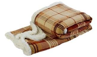 Kitchen Curtains Designs super soft sherpa fleece checked throw over reversible bed