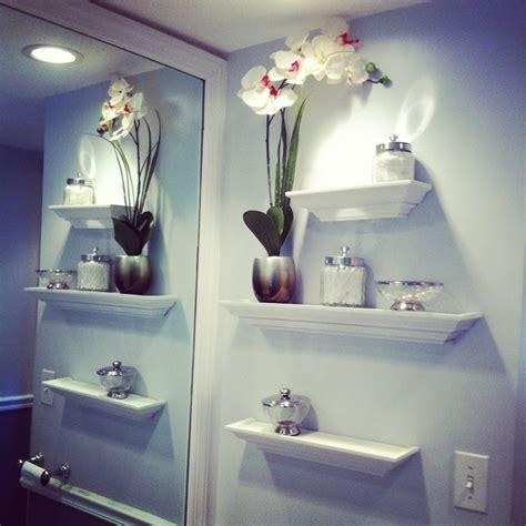 decorating bathroom walls ideas beautiful bathroom wall decor using sweet flower vase decoration wall mounted shelves