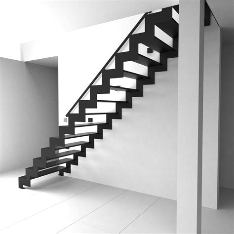 black staircase costly space saving black metal stright shape modern