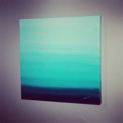 ombre acrylic paint on canvas ombre aqua teal turquoise painting canvas square 14 quot x 14