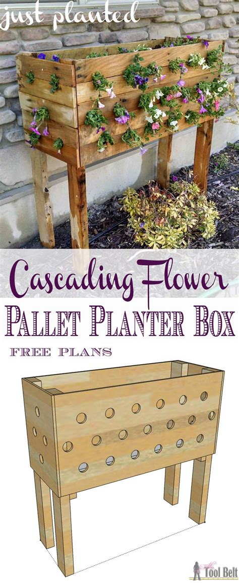 pallet planter box plans pallet planter box for cascading flowers tool belt