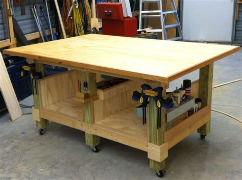 woodworking shop table my 4 x 6 ft woodworking assembly table six legs from 4 x
