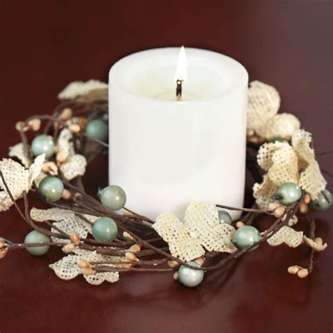 candle ring burlap hydrangeas and berries candle ring new items