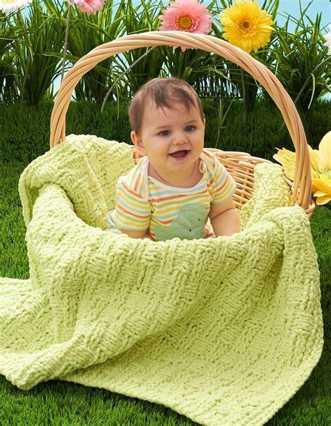 bernat baby knitting patterns basket of baby blanket allfreeknitting