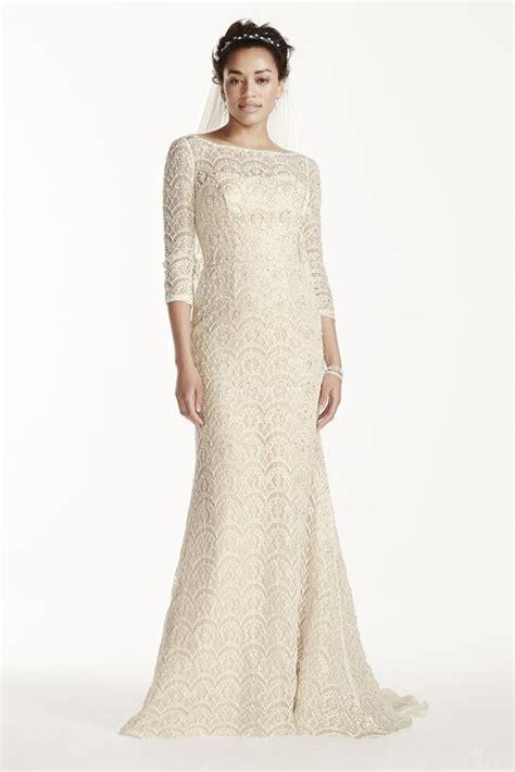 Oleg Cassini Beaded Lace 3 4 Sleeved Wedding Dress Style