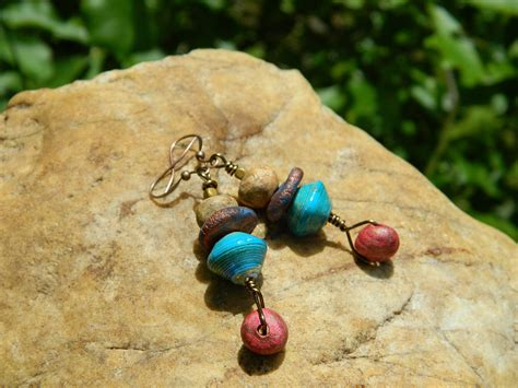 paper clay jewelry stoneware clay and paper bead drop earrings