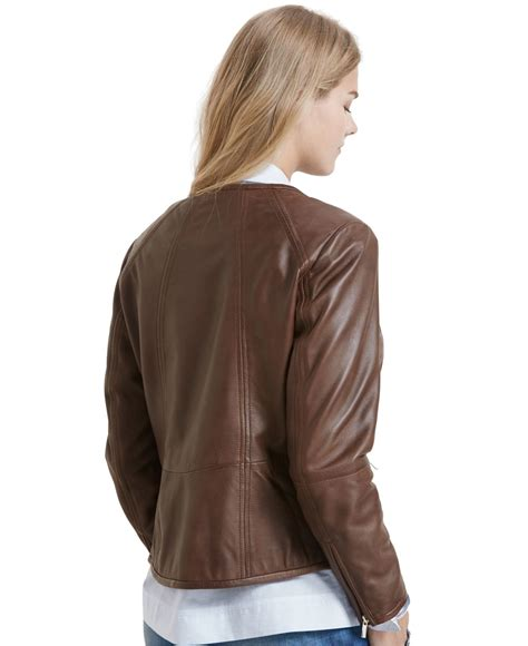 plus size leather jackets for violeta by mango plus size leather jacket in brown medium