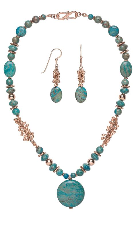 beading gem jewelry design single strand necklace and earring set