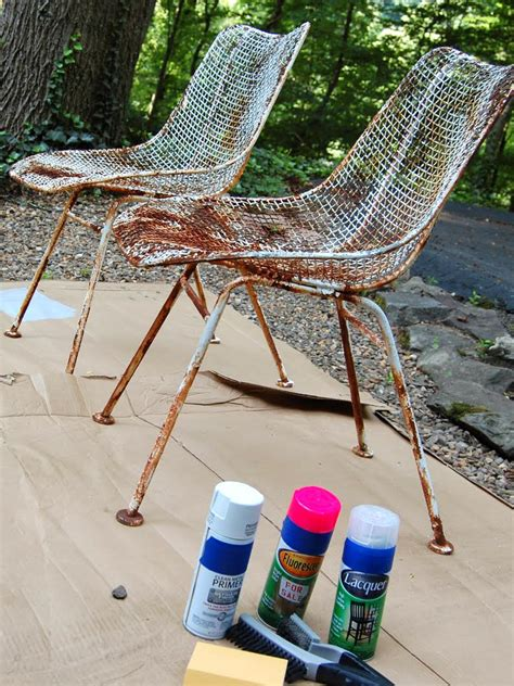 repainting outdoor metal furniture how to paint metal chairs how tos diy
