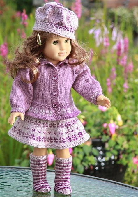 how to knit doll clothes lovely knitting pattern for your doll in 2 lilac colors