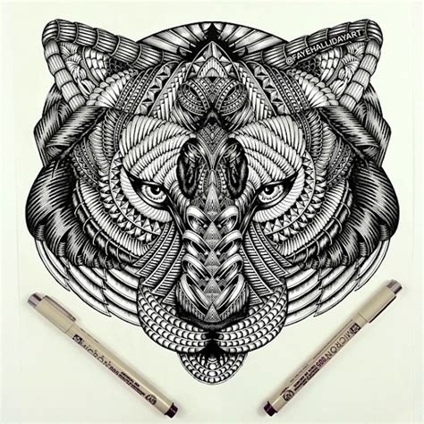 amazing detailed animal doodles created by artist faye