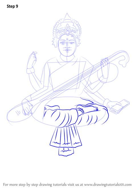 how to draw learn how to draw saraswati hinduism step by step