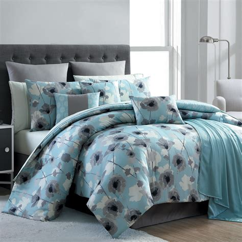 home bedding sets essential home 16 complete bed set blue poppy