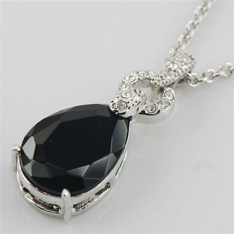 black pendants black onyx white topaz 925 sterling silver fashion jewelry