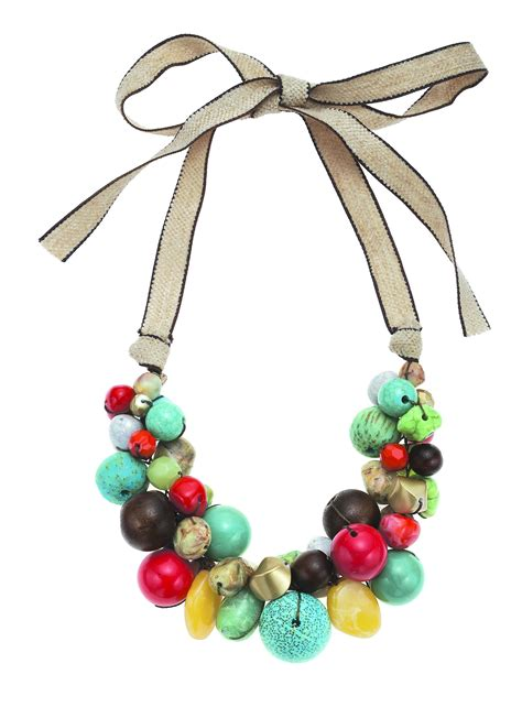chunky bead necklace for boho glam coral turq gold chunky bead necklace on linen