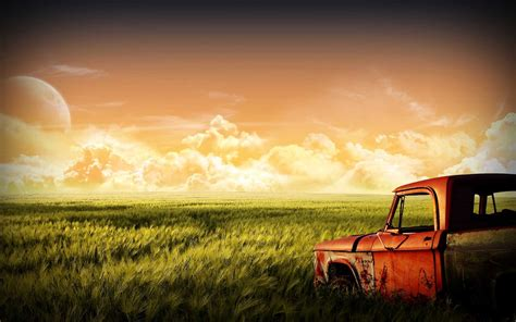 Car Landscape Wallpaper by Car Grass Landscape Clouds Moon Sky Green