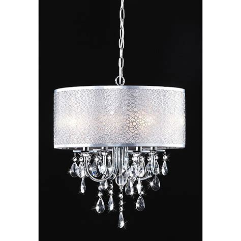 chrome and chandeliers indoor 4 light chrome white shades chandelier