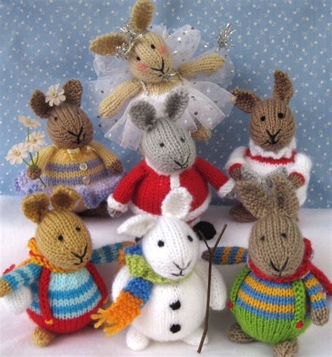 free knitted toys 6 bunny patterns winter in bunnyland knitted by