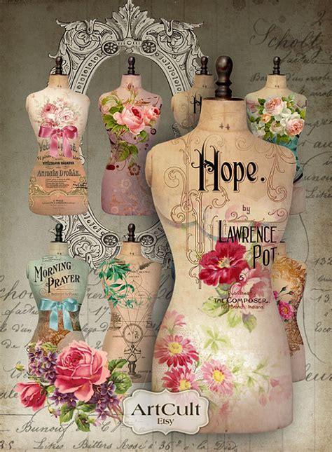 vintage decoupage paper uk digital collage sheet torso printable dress form images for
