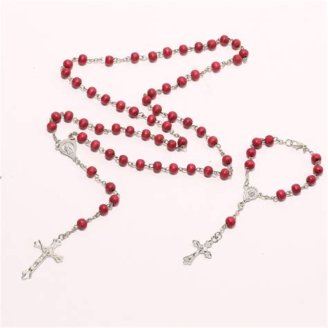 bead chain font popular wooden bead cross necklace buy cheap wooden bead